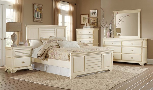 Laurinda Cottage Antique White Wood 5pc Bedroom Set w/King Bed HE-1846-BR-S2