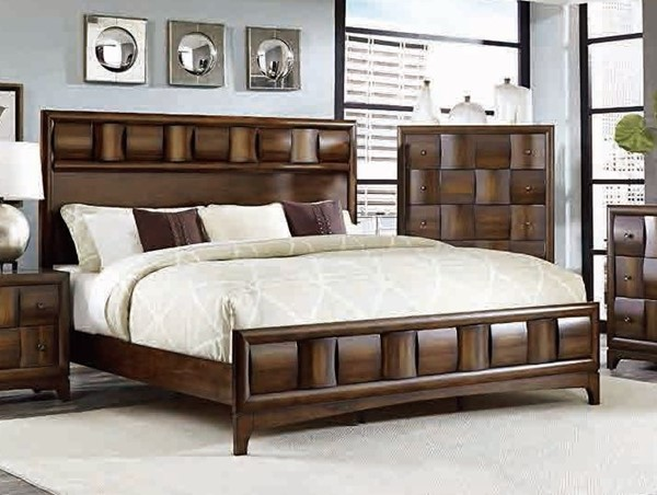 Porter Contemporary Warm Walnut Wood Beds HE-1852-BEDS