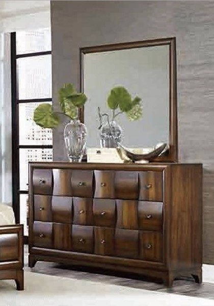 Porter Contemporary Warm Walnut Wood Glass Mirror HE-1852-6