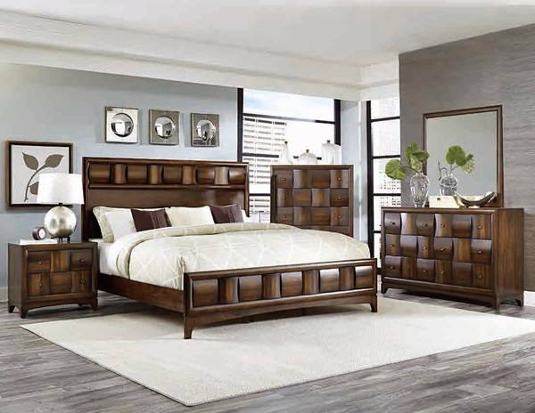 Porter Contemporary Warm Walnut Wood 2pc Bedroom Set W/Queen Bed HE-1852-BR-S1
