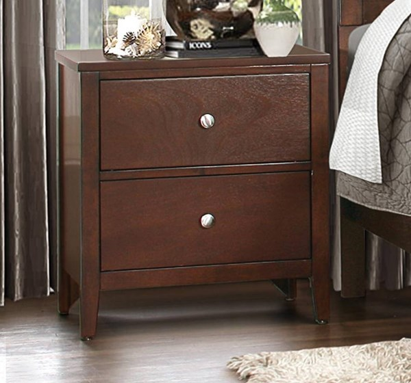 Cullen Contemporary Cherry Brown Wood Night Stand HE-1855-4