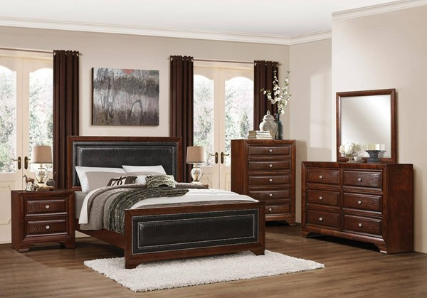 Owens Traditional Warm Cherry Wood Black Vinyl Master Bedroom Set HE-1857-BR