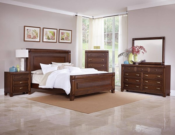 Home Elegance Nealon Warm Cherry Master Bedroom Set HE-1862-BR