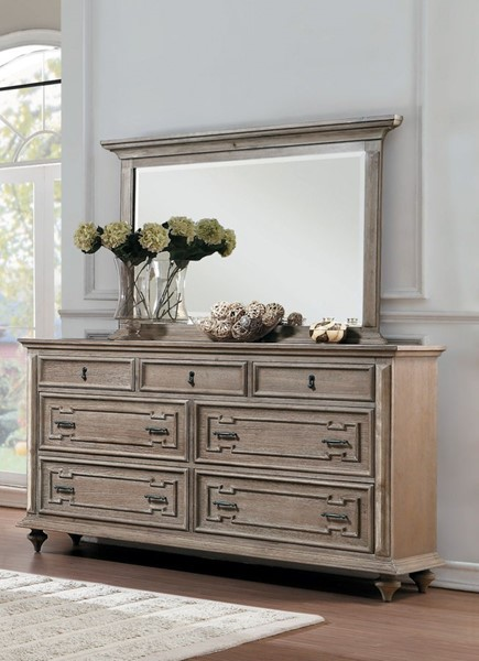Home Elegance Marceline Gray Dresser and Mirror HE-1866GY-DRMR