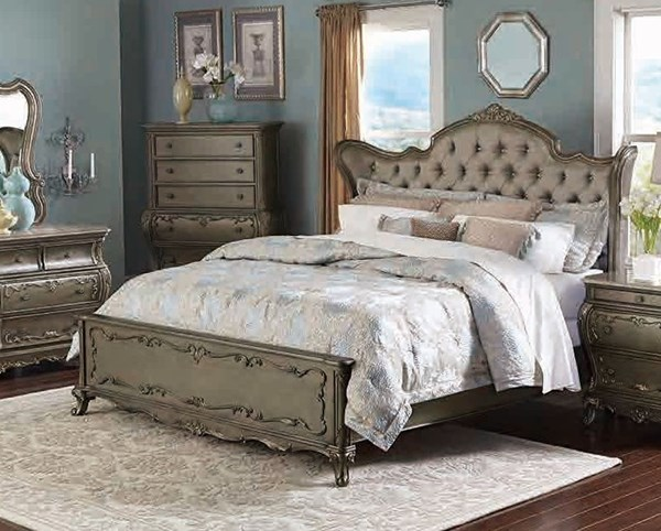 Florentina Old World Silver Gold Taupe Faux Silk Wood King Wing Bed HE-1867K-1EK
