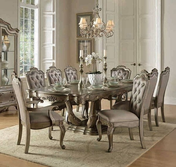 Florentina Old World Silver Gold Wood Dining Table HE-1867-102