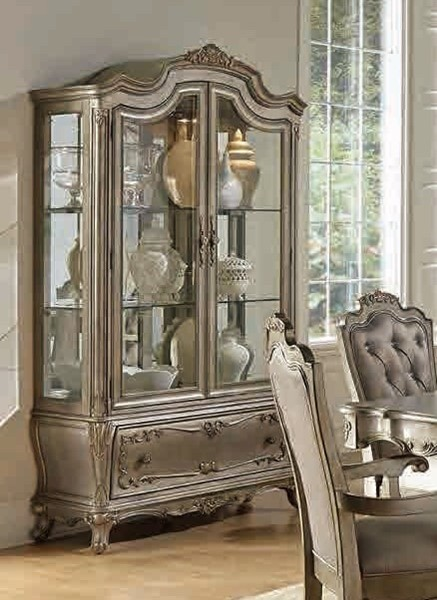 Florentina Old World Silver Gold Wood Glass Buffet And Hutch HE-1867-50