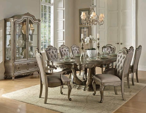 Florentina Silver Gold Wood Faux Silk Wood 7pc Dining Room Set HE-1867-DR-S1