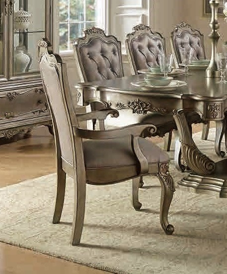2 Florentina Old World Silver Gold Faux Silk Wood Arm Chairs HE-1867A