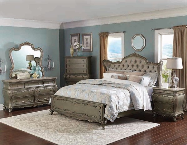 Florentina Wood Faux Silk 2pc Bedroom Set W/King Bed HE-1867-BR-S2