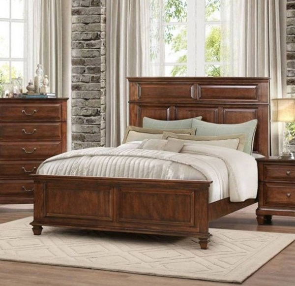 Bardwell Traditional Cherry Brown Wood Beds HE-1870-BEDS