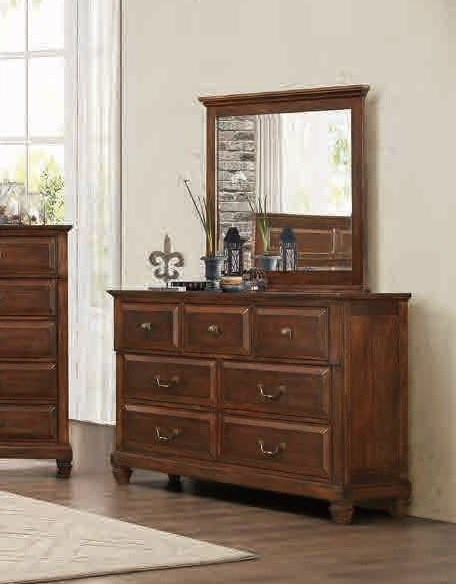 Bardwell Traditional Cherry Brown Wood Glass Dresser & Mirror HE-1870-DRMR