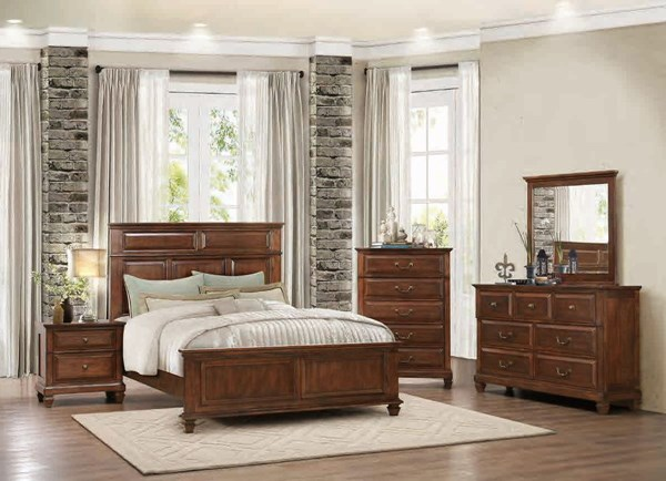 Bardwell Traditional Cherry Brown Wood Glass Master Bedroom Set Bedrooms The Classy Home