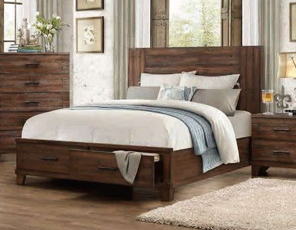 Brazoria Contemporary Wood Beds w/Footboard Storages HE-1877-BEDS