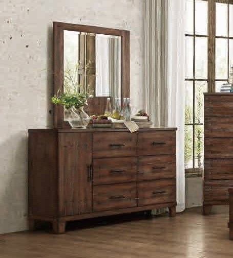 Brazoria Contemporary Natural Wood Glass Dresser & Mirror HE-1877-DRMR