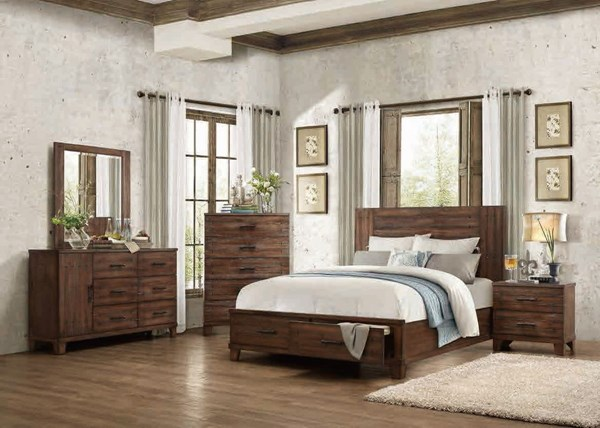 Brazoria Contemporary Natural Wood 5pc Bedroom Sets HE-1877-BR-S