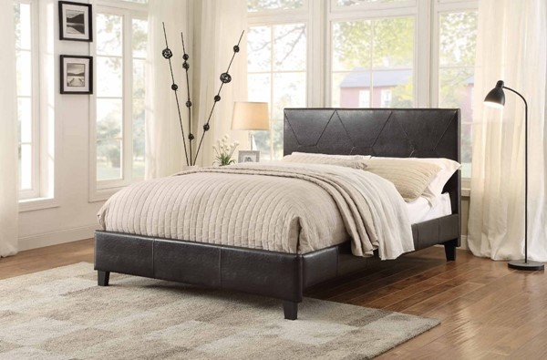 Deleon Modern Dark Brown Bi-Cast Vinyl King Platform Bed HE-1881KPU-1EK