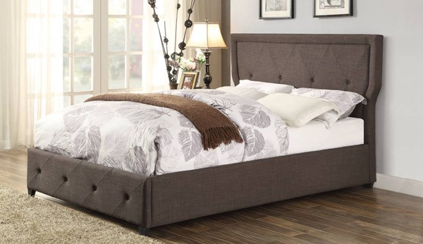 Thain Contemporary Dark Grey Fabric Queen Bed HE-1891N-1