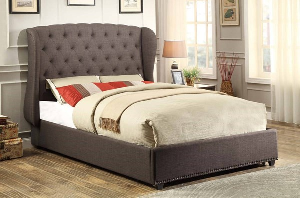 Chardon Traditional Dark Grey Fabric Queen Wing Bed HE-1894N-1