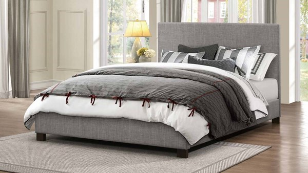 Chasin Transitional Grey Fabric Queen Platform Bed HE-1896N-1
