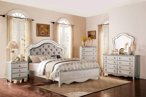 Toulouse Elegant Champagne Vinyl Wood Master Bedroom Set HE-1901-BR