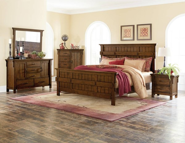 Home Elegance Terrace Burnished Oak Master Bedroom Set HE-1907-BR