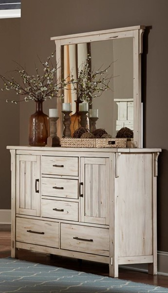 Home Elegance Terrace Antique White Dresser and Mirror HE-1907W-DRMR