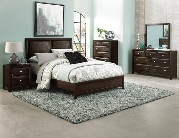 Summerlin Contemporary Espresso Wood Black Vinyl Master Bedroom Set HE-1908-BR