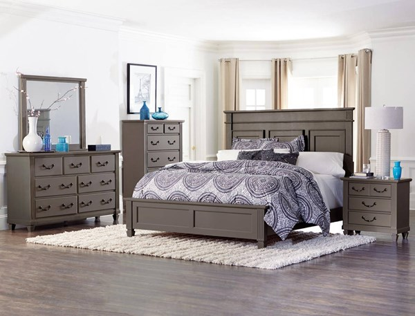 Granbury Traditional Grey Wood Master Bedroom Set HE-1911-BR