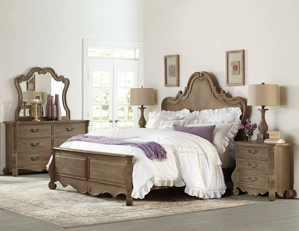 Home Elegance Chrysanthe Oak Master Bedroom Set HE-1912-BR