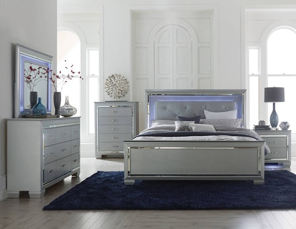 Allura Contemporary Silver Wood Vinyl LED Lighting Master Bedroom Set HE-1916-BR