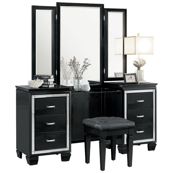 Home Elegance Allura Black Vanity Desk And Tri Fold Mirror HE-1916BK-15