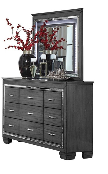Home Elegance Allura Gray Dresser and Mirror HE-1916GY-DRMR