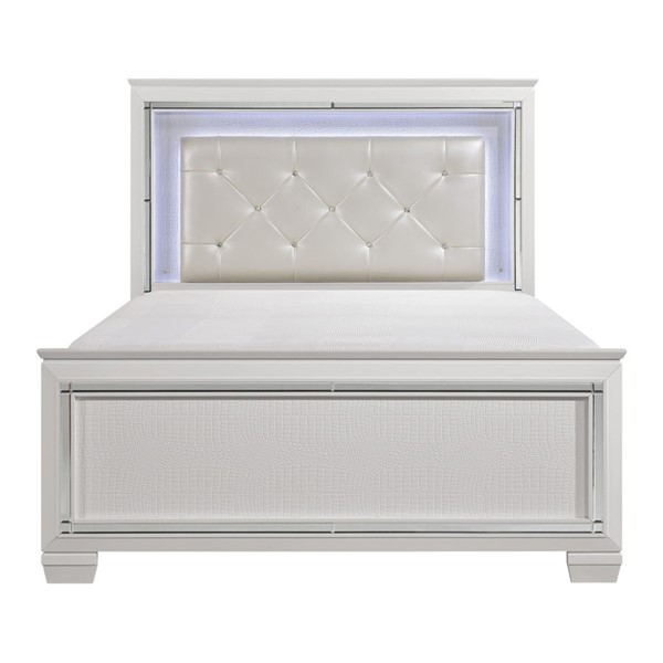 Home Elegance Allura White LED Queen Bed HE-1916W-1