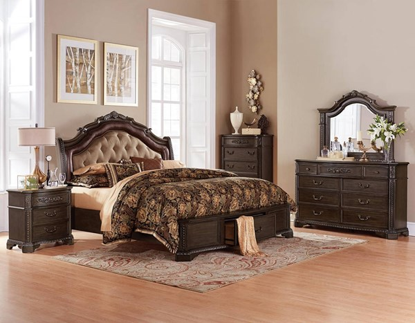 Londrina Cherry Wood Bonded Leather Master Bedroom Set HE-1917-BR