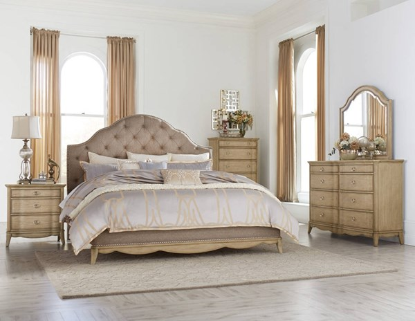 Ashden Traditional Driftwood Neutral Fabric Master Bedroom Set HE-1918-BR