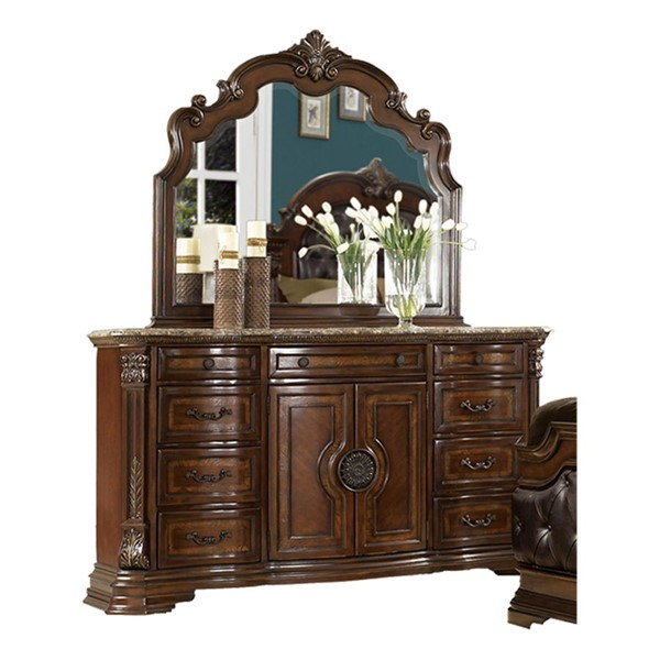 Home Elegance Antoinetta Cherry Dresser and Mirror HE-1919-DRMR