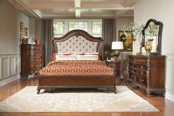 Bonaventure Park Warm Cherry Wood Fabric Master Bedroom Set HE-1935-BR