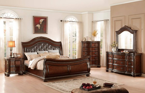Chaumont Traditional Brown Cherry Wood Vinyl Master Bedroom Set HE-1945-BR