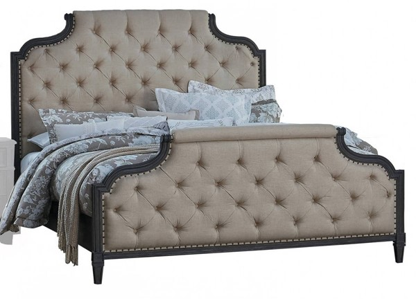 Home Elegance Lindley Walnut Beige Upholstered Queen Bed HE-1947-1