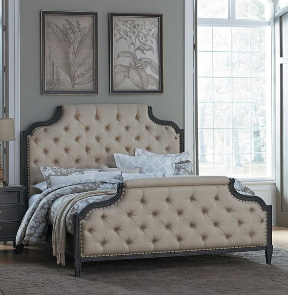 Home Elegance Lindley Walnut Beige Beds HE-1947-BEDS