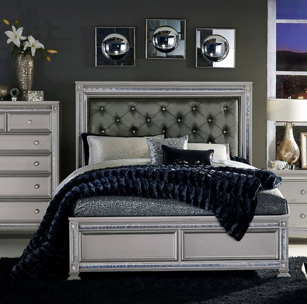 Home Elegance Bevelle Silver Dark Gray Queen Bed HE-1958-1