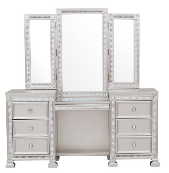 Home Elegance Bevelle Silver Vanity Desk With Mirrors HE-1958-15