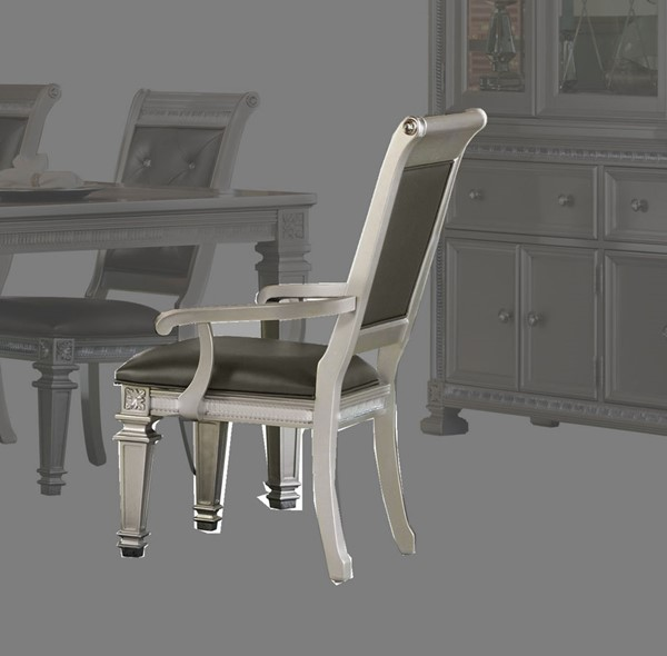 2 Home Elegance Bevelle Silver Dark Gray Arm Chairs HE-1958A