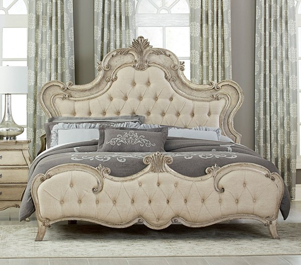 Home Elegance Elsmere Cream Gold King Bed HE-1978KW-1EK