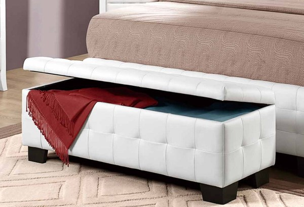 Sparkle Youth White Vinyl Wood Lift Top Storage Bench HE-2004-13