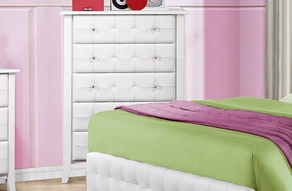 Sparkle Youth White Vinyl Wood Round Knobs Five Drawer Chest HE-2004-9
