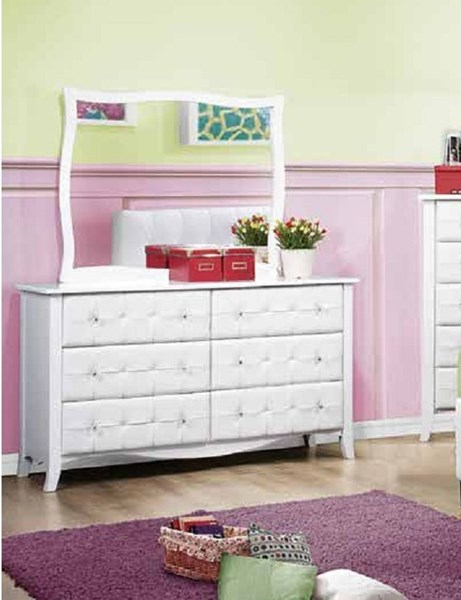 Sparkle Youth White Vinyl Wood Glass Rectangle Dresser & Mirror HE-2004-DRMR