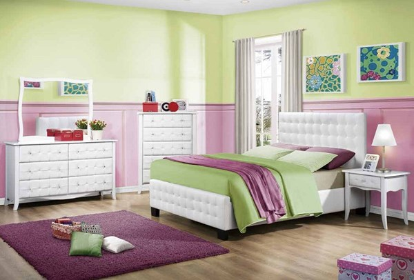 Sparkle Youth White Vinyl Wood Glass 4pc Kids Bedroom Set W/Full Bed HE-2004-KBR-S1