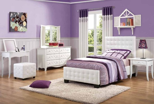 Sparkle Youth White Vinyl Wood Glass 4pc Kids Bedroom Set W/Twin Bed HE-2004-KBR-S2